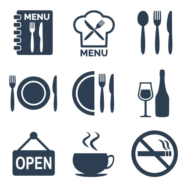 illustrazioni stock, clip art, cartoni animati e icone di tendenza di restaurant icons set on white background. - cena