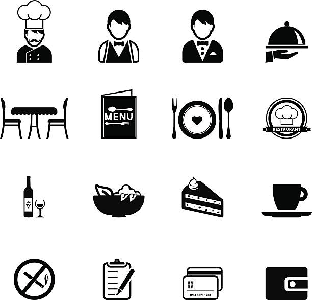Restaurant icons set vector art illustration