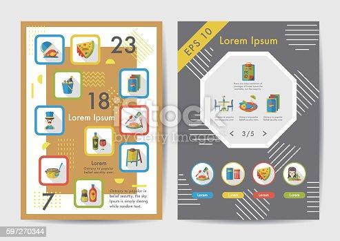 Restaurant Icons Set With Long Shadoweps10 Stock Vektor Art und mehr Bilder von Brunch 597270344