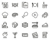 istock Restaurant Icons Thin Lie Big Set 1194304541