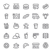 Restaurant, food, icon, icon set, drink, pizza, dinner, line icon