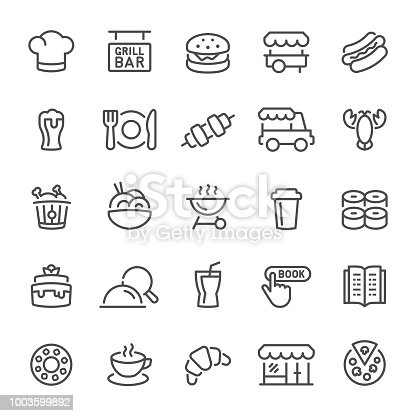 Restaurant, food, icon, icon set, drink, pizza, dinner, line icon