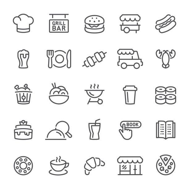 restaurant symbole - nahrungsmittelindustrie stock-grafiken, -clipart, -cartoons und -symbole
