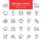 Restaurant, food and drink, editable stroke, outline, icon, icon set, pizza, dinner