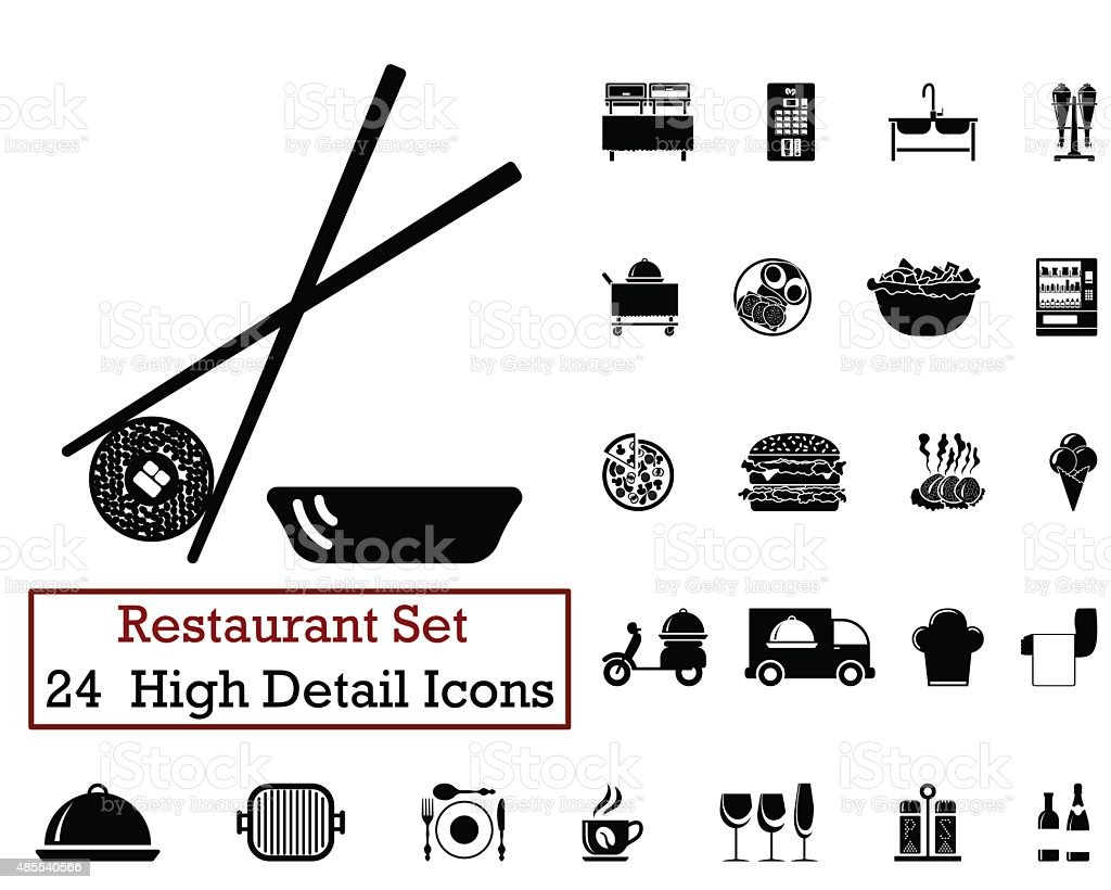 24 Restaurant icons vector art illustration