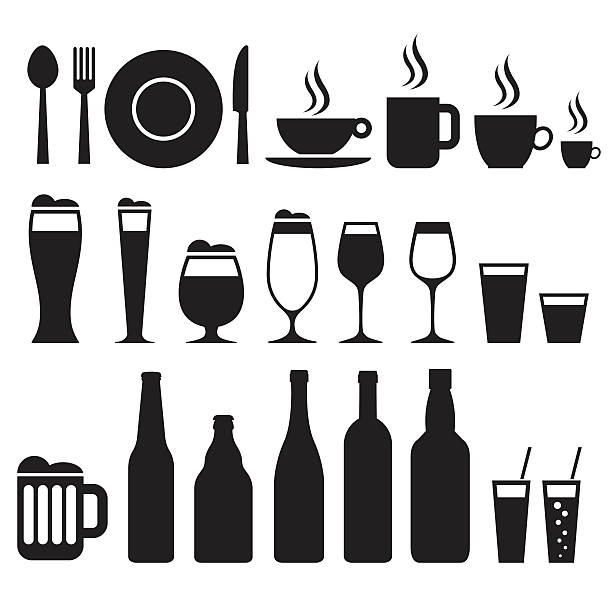restaurant icons - alcohol drink silhouettes stock illustrations