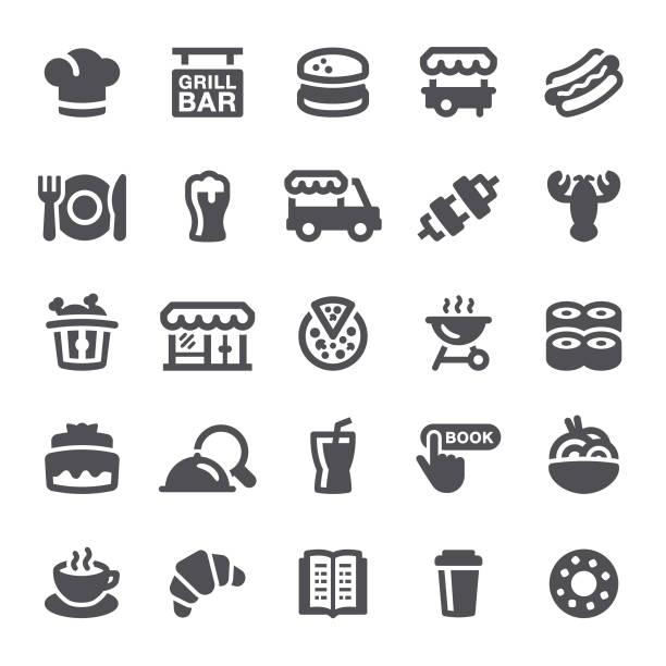 restaurant symbole - imbisswagen stock-grafiken, -clipart, -cartoons und -symbole