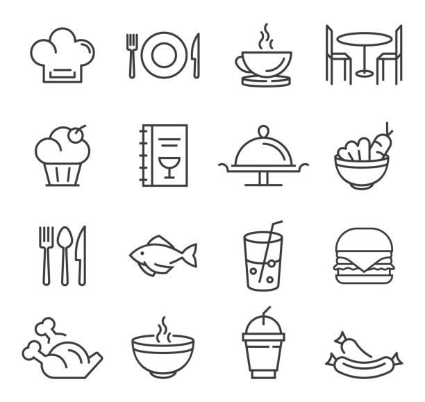 ikony restauracji - bar lokal gastronomiczny stock illustrations