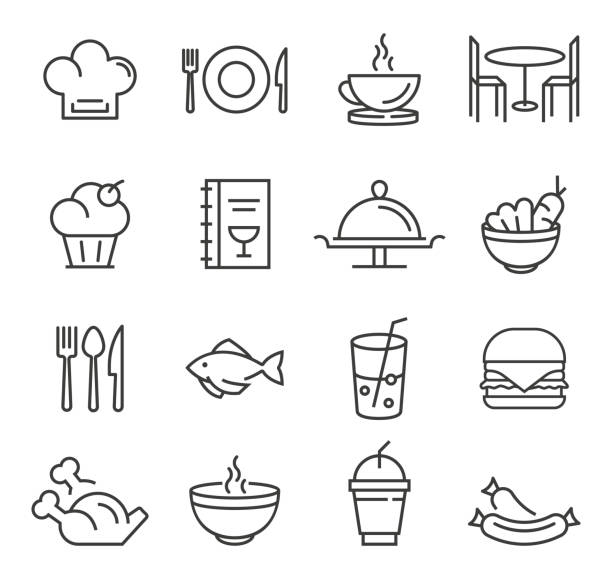 stockillustraties, clipart, cartoons en iconen met restaurant pictogrammen - lunch