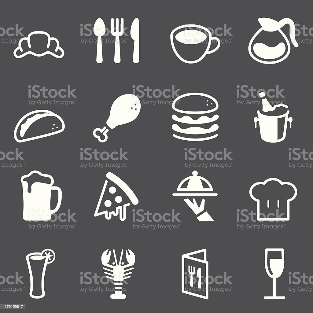 Restaurant Icons - White Series royalty-free restaurant icons white series stock vector art & more images of alcohol