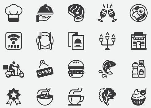 Restaurant Icons,Cooking, Food, Drinks, Fast Food, Eating,Cafe Pixel Perfect Icons