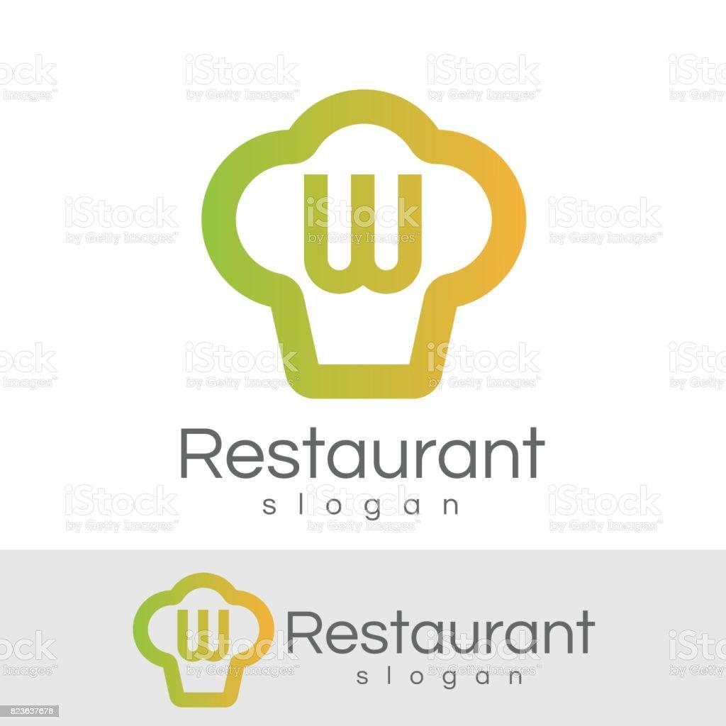 restaurant de design d'icône W lettre initiale - Illustration vectorielle