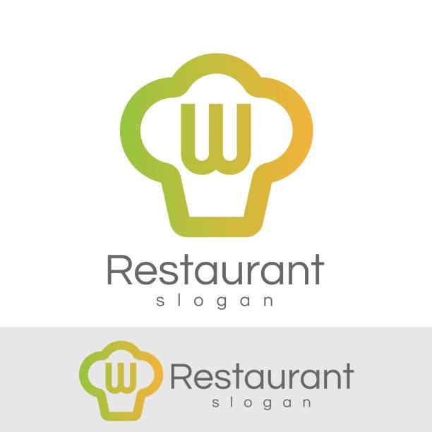 ersten buchstaben w symbol restaurantdesign - küchensystem stock-grafiken, -clipart, -cartoons und -symbole