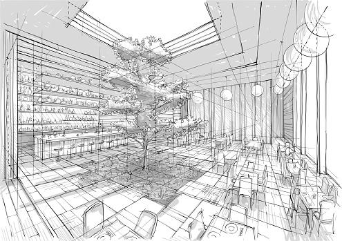 Restaurant interior illustration