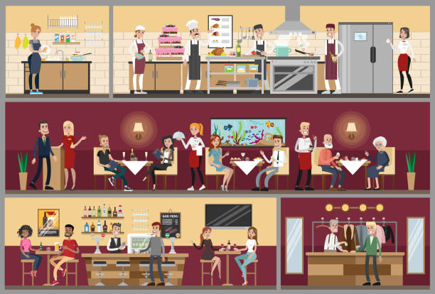 Restaurant interior set. Restaurant interior set with people sitting, kitchen and bar. restaurant stock illustrations