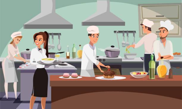 restaurant küche flach vektor illustration - nahrungsmittelindustrie stock-grafiken, -clipart, -cartoons und -symbole