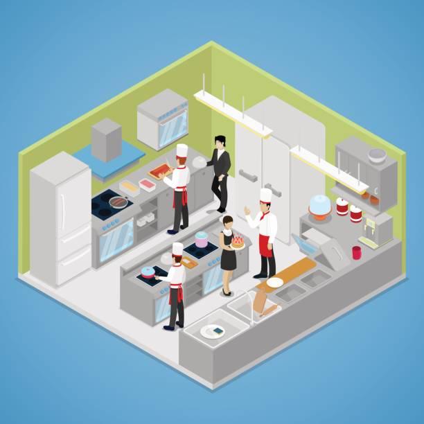 ilustraciones, imágenes clip art, dibujos animados e iconos de stock de interior de cocina de restaurante. isométrica - busy restaurant kitchen