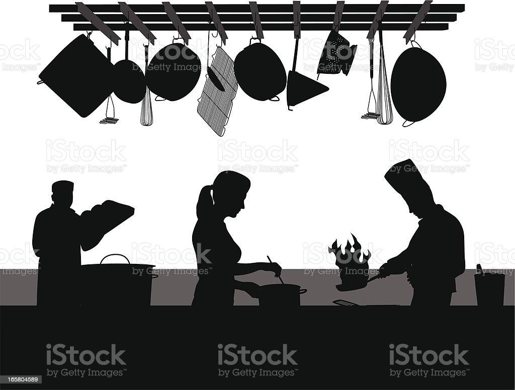 Restaurant Kitchen Vector Silhouette royalty-free stock vector art