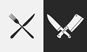 Restaurant knives icons. Silhouette of fork and knife, butcher knives. , emblem