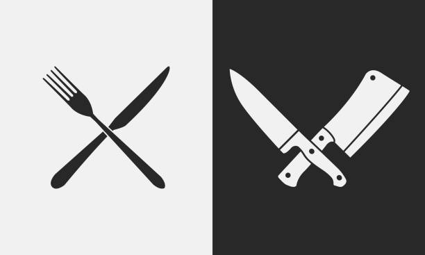 Restaurant knives icons. Silhouette of fork and knife, butcher knives. , emblem Vector illustration blade stock illustrations