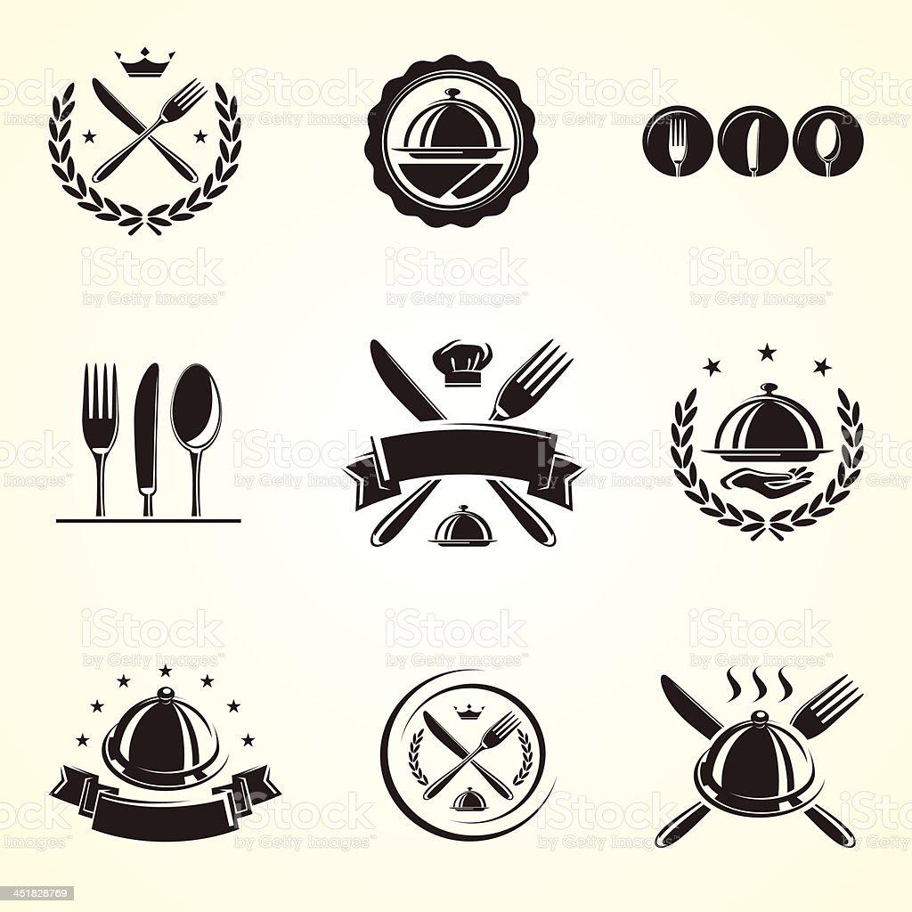 Restaurant labels set. Vector vector art illustration