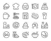 Restaurant Light Line Icons Vector EPS File.