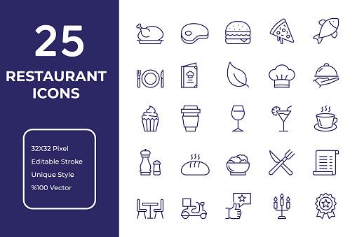 Restaurant Line Icon Design