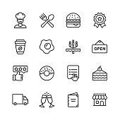 16 Restaurant Line Icons.
