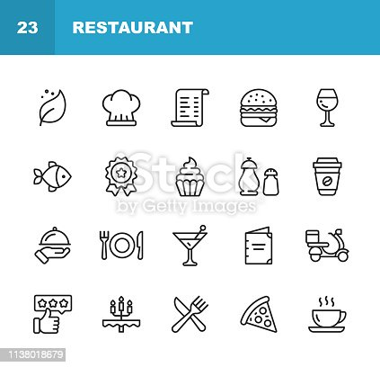 20 Restaurant Outline Icons.
