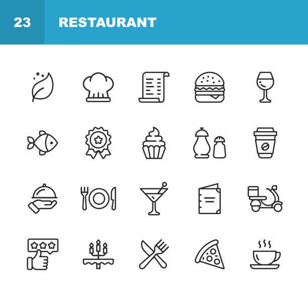 restaurant line icons. bearbeitbare stroke. pixel perfect. für mobile und web. enthält ikonen wie vegan, kochen, essen, getränke, fast food, essen. . - restaurant stock-grafiken, -clipart, -cartoons und -symbole