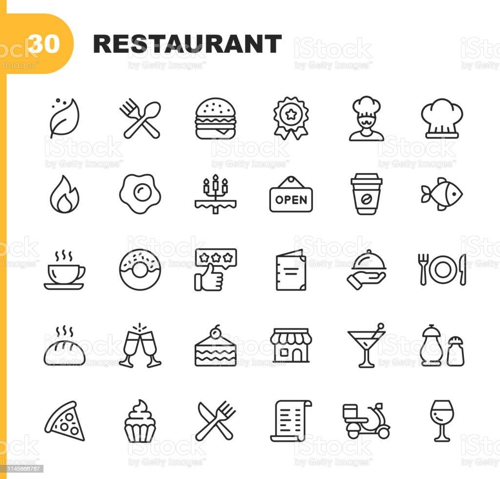 Restaurant Line Icons. Bearbeitbare Stroke. Pixel Perfect. Für Mobile und Web. Enthält Ikonen wie Vegan, Kochen, Essen, Getränke, Fast Food, Essen. . - Lizenzfrei Abzeichen Vektorgrafik