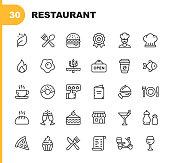 30 Restaurant Outline Icons.
