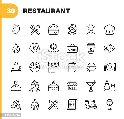30 Restaurant Outline Icons.