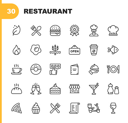 Restaurant Line Icons. Editable Stroke. Pixel Perfect. For Mobile and Web. Contains such icons as Vegan, Cooking, Food, Drinks, Fast Food, Eating. . clipart