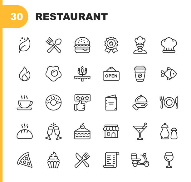 레스토랑 라인 아이콘입니다. 편집 가능한 스트로크. 완벽 한 픽셀. 모바일 및 웹에 적합 합니다. 채식, 요리, 음식, 음료, 패스트 푸드, 식사와 같은 아이콘이 포함 되어 있습니다. . - 상징 stock illustrations