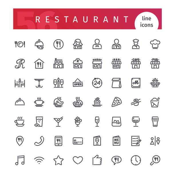 restaurant linie icons set - restaurants stock-grafiken, -clipart, -cartoons und -symbole