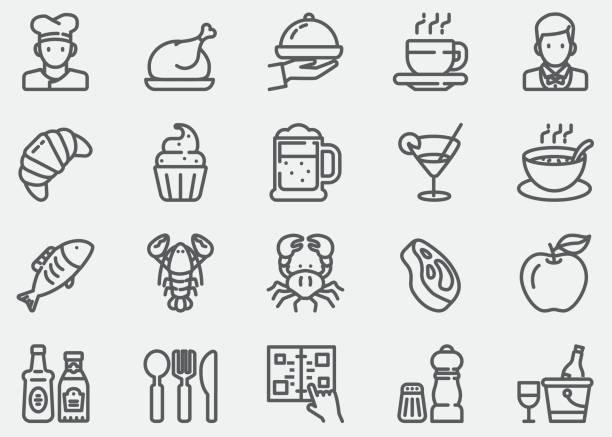 Iconos de restaurante - ilustración de arte vectorial