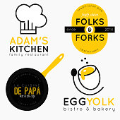 Set of 4 logos for bistro, bakery or restaurant. Fully editable and scalable vector EPS file