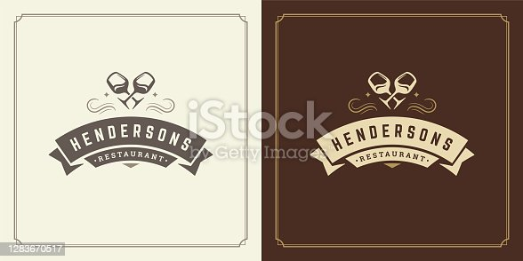 istock Restaurant logo design vector illustration wine stemware silhouettes 1283670517