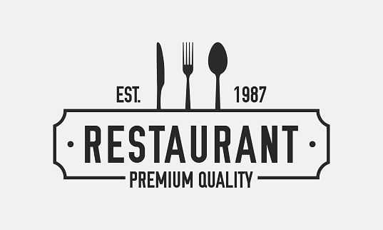 Restaurant logo isolated on white background. Restaurant menu logo template with knife, fork and spoon. Retro vintage design