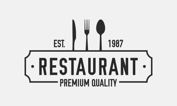 restaurant logo isoliert auf weißem hintergrund. restaurant menü logo-vorlage mit messer, gabel und löffel. retro-vintage-design - restaurant stock-grafiken, -clipart, -cartoons und -symbole