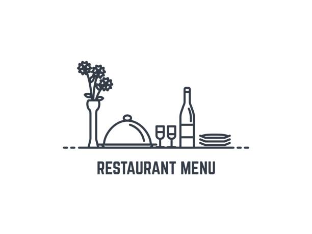 illustrazioni stock, clip art, cartoni animati e icone di tendenza di restaurant menu banner - cena