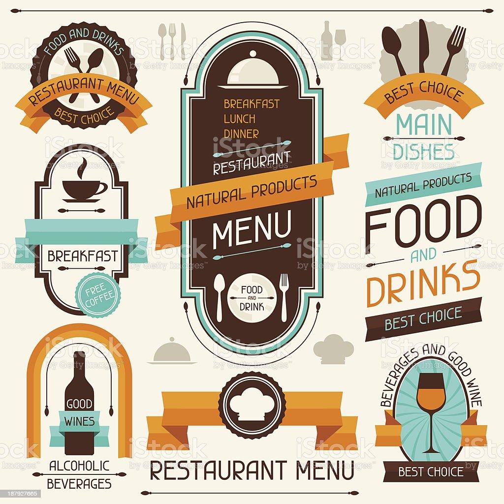 Restaurant menu, banners and ribbons, design elements. vector art illustration