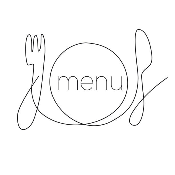 Restaurant menu continuous thin line illustration Restaurant menu continuous thin line illustration. Hand drawn kitchenware vector clipart with typography. Fork, plate and knife ink pen sketch drawing. Catering minimalistic contour logotype cooking clipart stock illustrations
