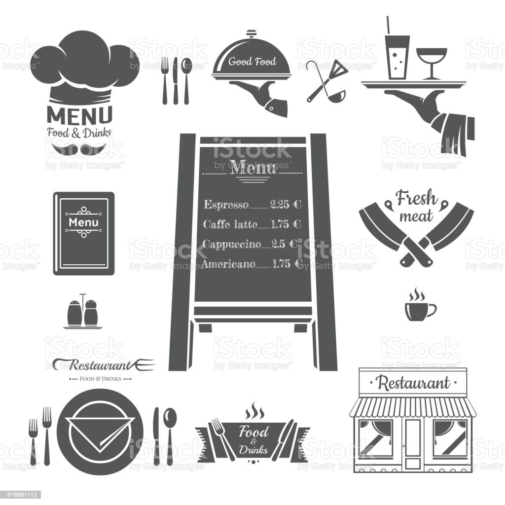 Restaurant menu design elements. vector art illustration