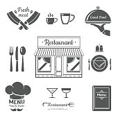 Set of restaurant menu design elements. Vector Illustration.