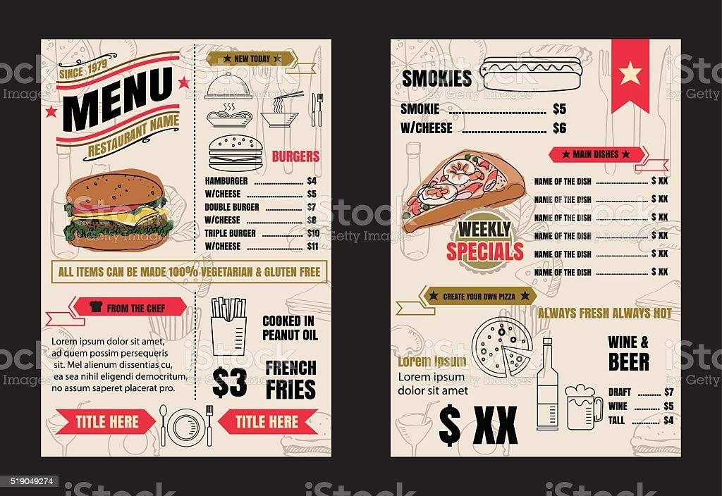 レストランメニューデザイン要素チョークで描いたお食事とお飲み物