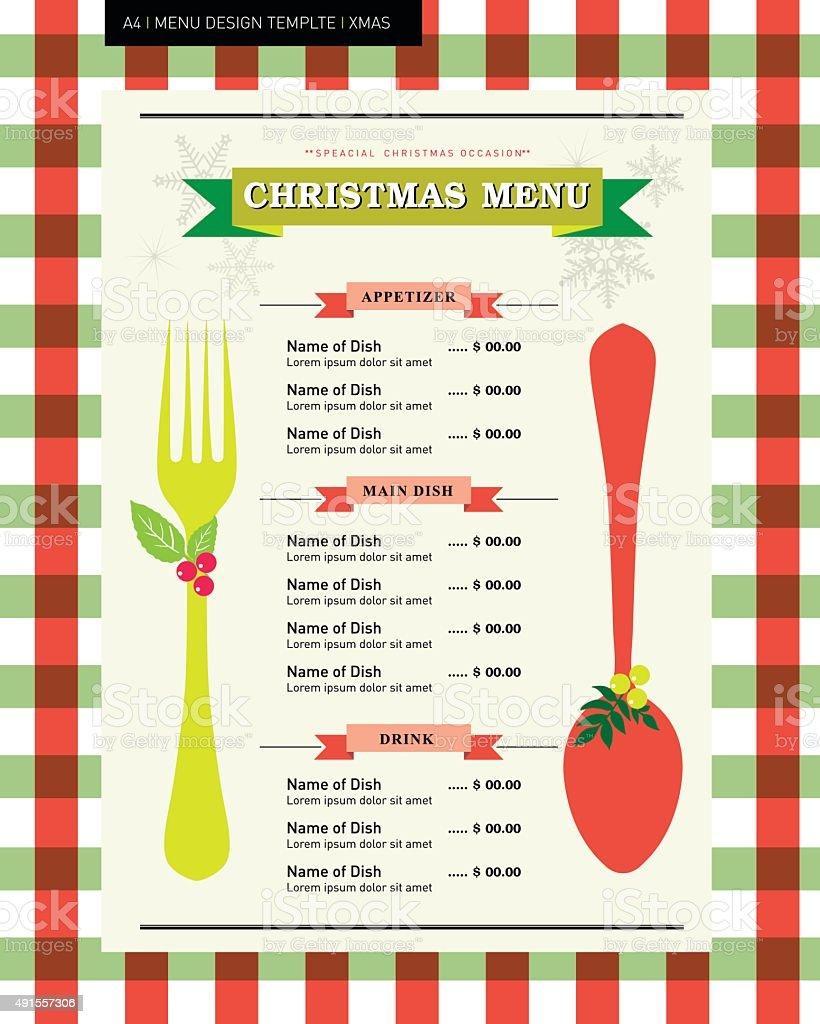 restaurant menu design template for christmas party stock vector art