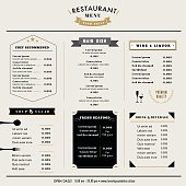 Restaurant Menu Design Template layout with icons Vintage style