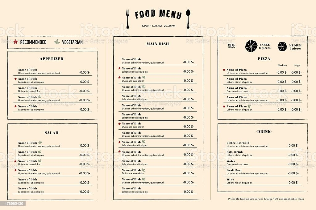 Restaurant Menu Design Template Layout With Logo Stock Illustration Download Image Now Istock